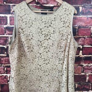 Laura Scott 20W sleeveless gold lace top shirt